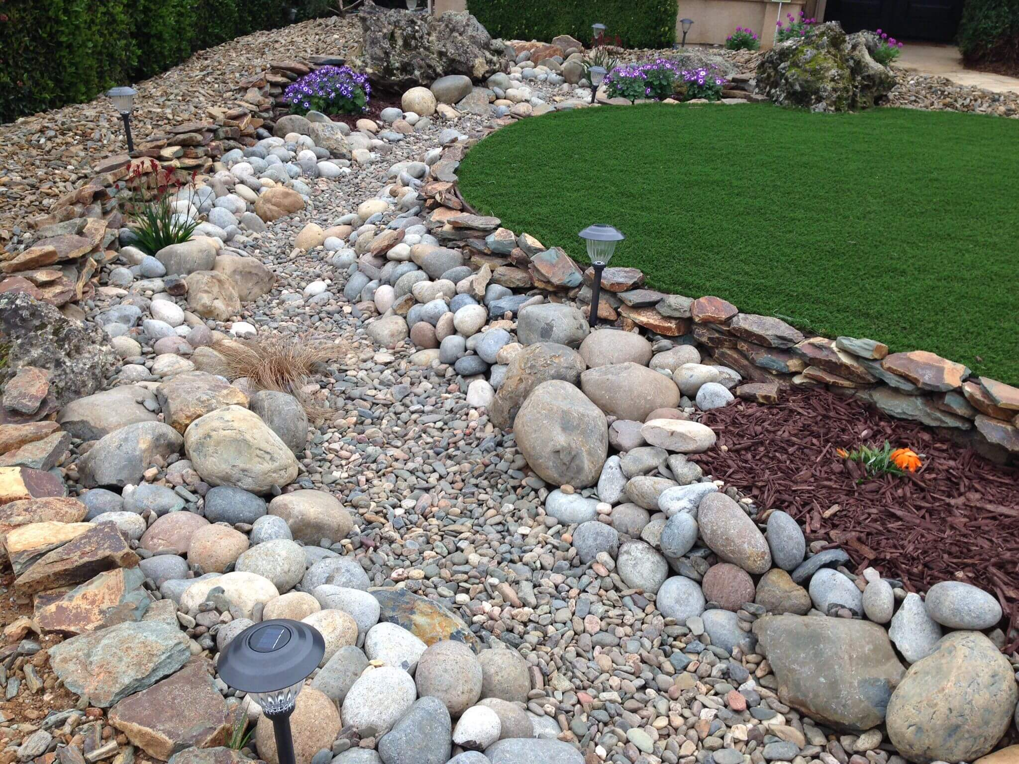 Dry Creek Bed having a Fountain