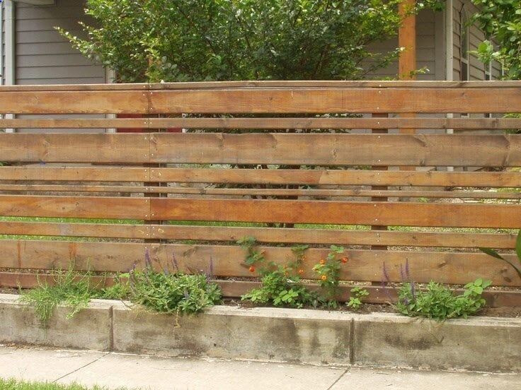 Slatted Wood Fence