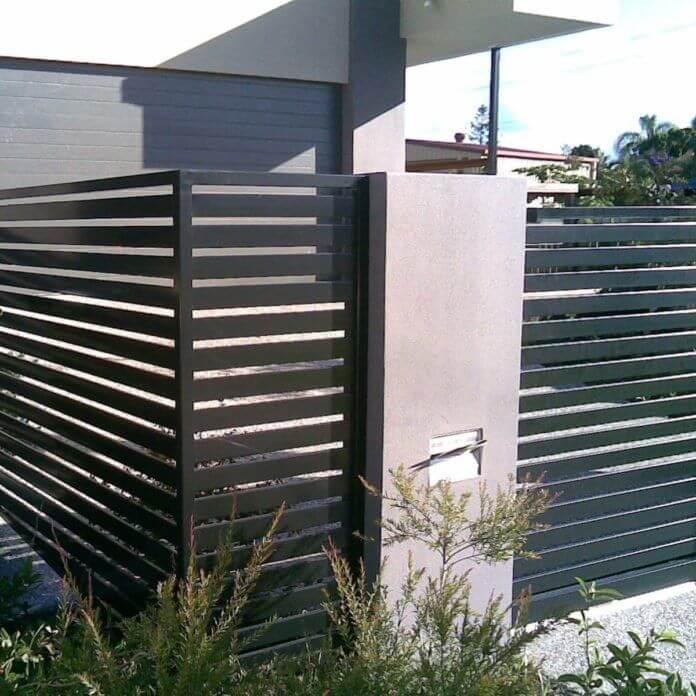 modern black horizontal slats Garden Fence