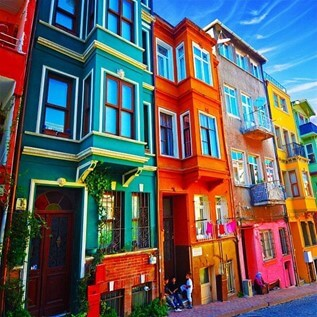 brightly colored homes