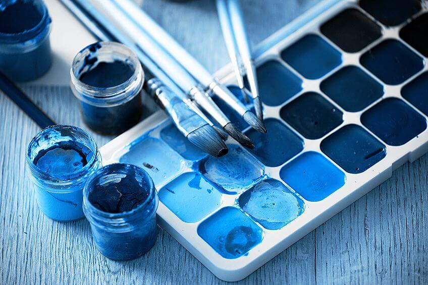 Mixing of Warm Shades of Blue